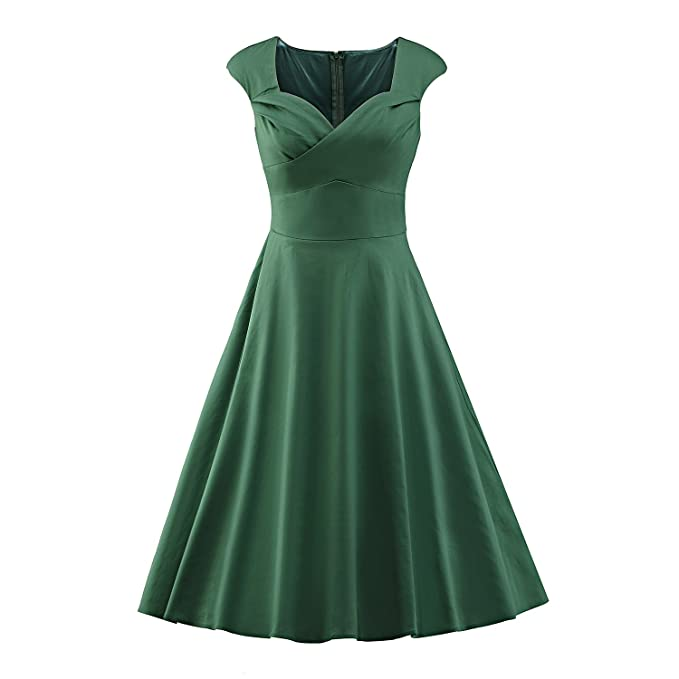 LUOUSE Damen Audrey Hepburn 50s Retro Vintage Bubble Skirt Rockabilly Swing Evening Kleider