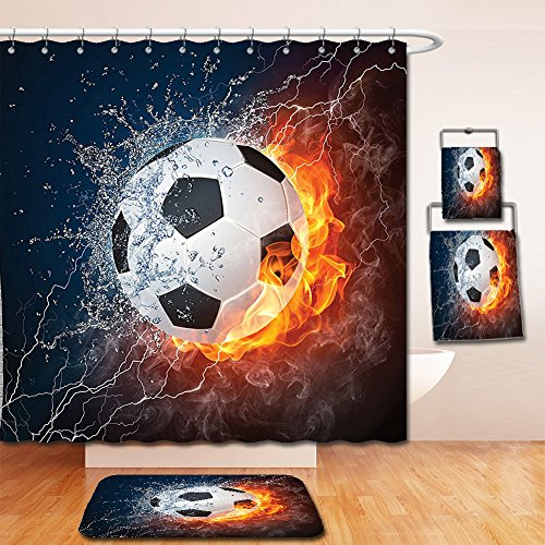 Nalahome Bath Suit: Showercurtain Bathrug Bathtowel Handtowel Sports Decor Collection Soccer Ball on Fire and Water Flame Splashing Thunder Lightning Abstract Image Orange Navy White by Nalahome