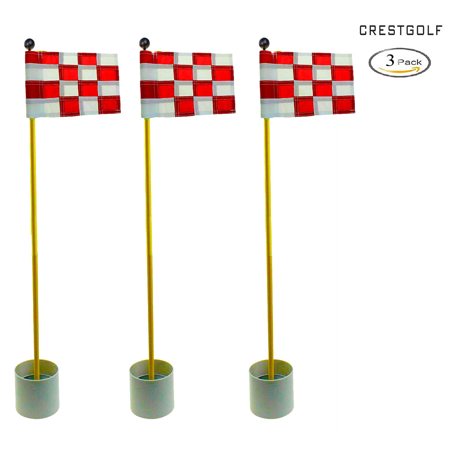 CRESTGOLF 3Sets Backyard Practice Golf Hole Pole Cup Flag Stick, 3 Section,Golf Putting Green Flagstick (white-red plaid)