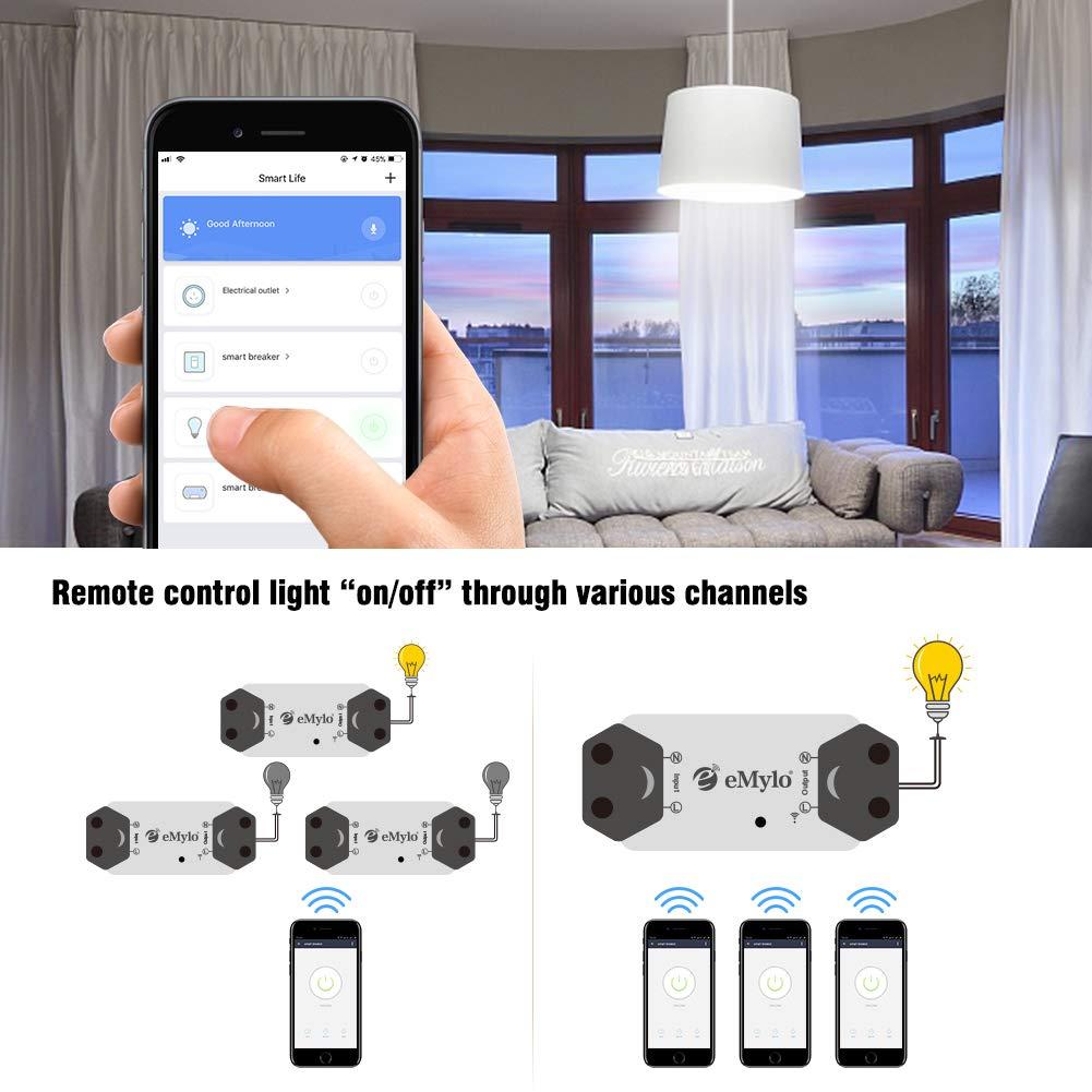eMylo Smart WiFi Lichtschalter Wireless Relay Switch Modul Fernbedienung Home Automation Timer Kompatibel mit Alexa Echo Google Home Iphone Android App 1 pack