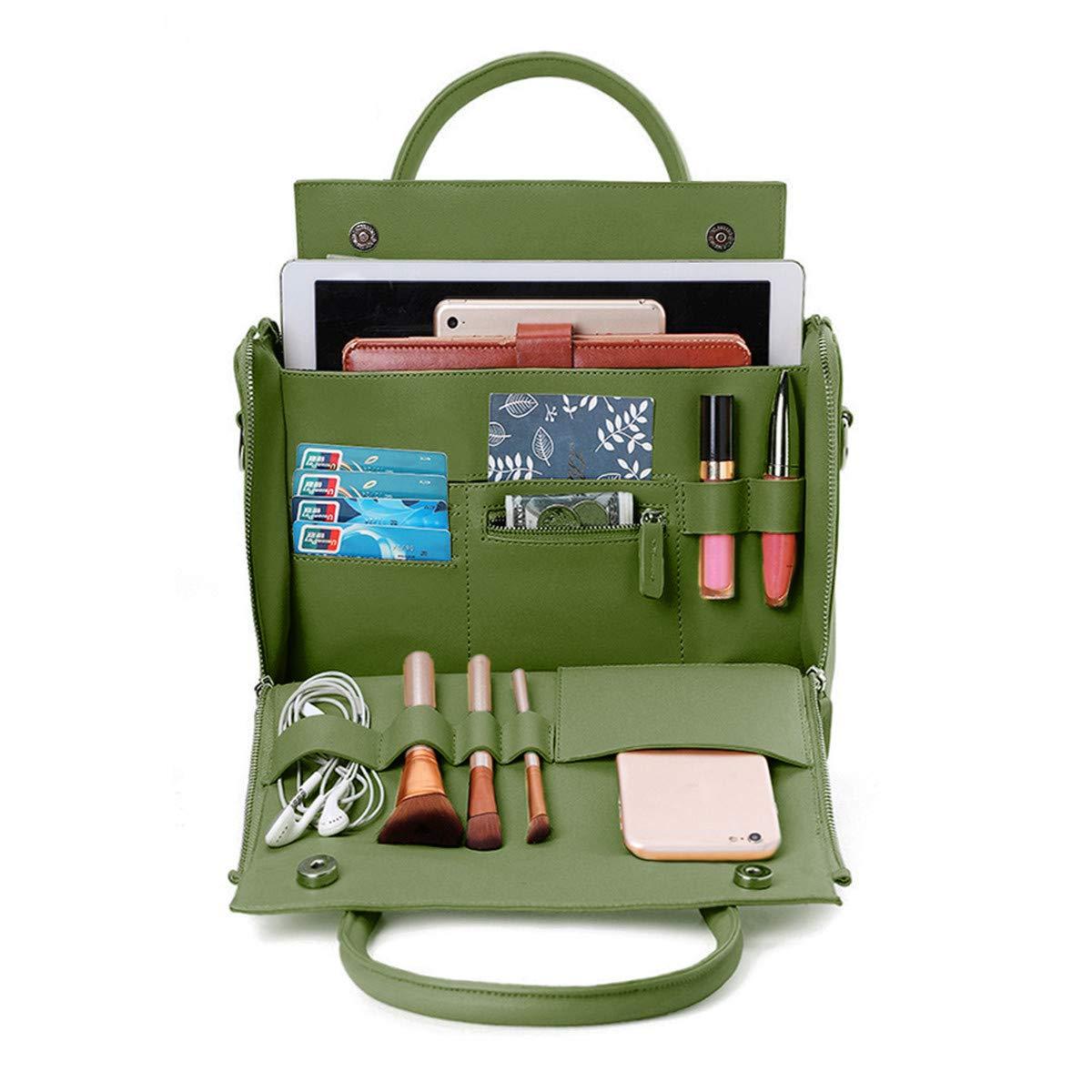 Brenice Travel Makeup Bag, Women Solid Cosmetic Handbag Capacity Bag Multifunction Crossbody Bag Green 9.25''x 4.75''x 6.5''