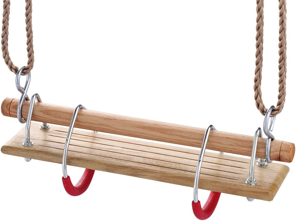 3 in 1 Backyard Playground Swing Set HAPPY PIE PLAY/&ADVENTURE HappyPie Wooden Trapeze with Plastic Steel Gym Rings Red and Hard Wood Swing Seat
