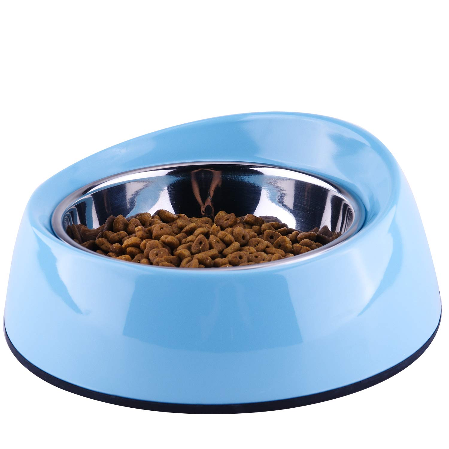 Light bluee 2 Cup Light bluee 2 Cup SuperDesign Removable Stainless Steel Melamine Non-Skid Widthen Mouth Pet Feeding Bowl, for Cats and Brachycephalic Dogs 2 Cup Light bluee