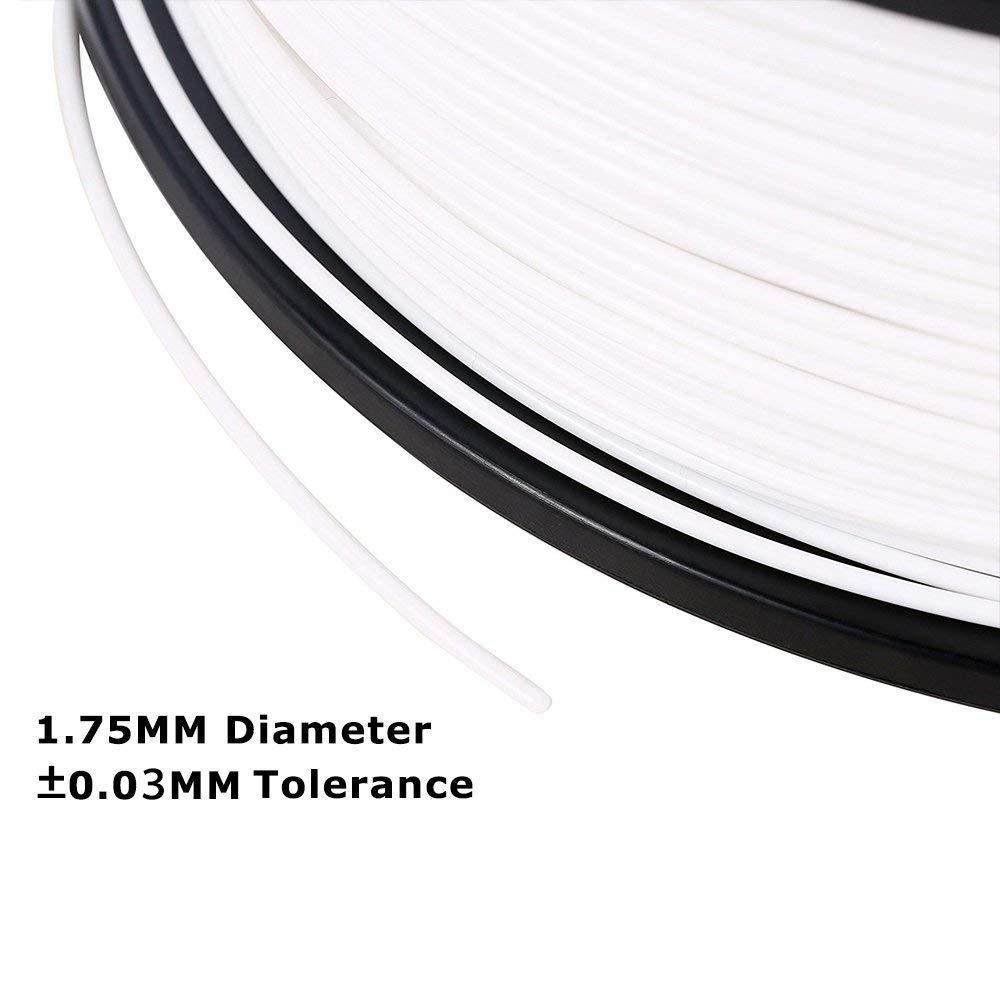 3D Mars 3D Printing Filament, 1.75 mm PLA 3D Printer Filament, Dimensional Accuracy +/- 0.03mm,1.2KG Spool Filament PLA 3D Filament for Most 3D Printer & 3D Pen, White