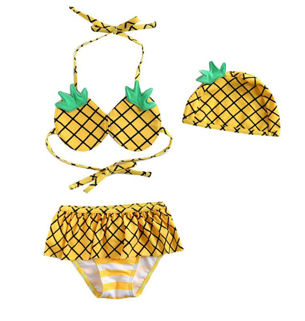 Binghang summer Girl's 3 Pcs Pineapple Bra+Bikinis+Hat Swimsuit Bathing Set