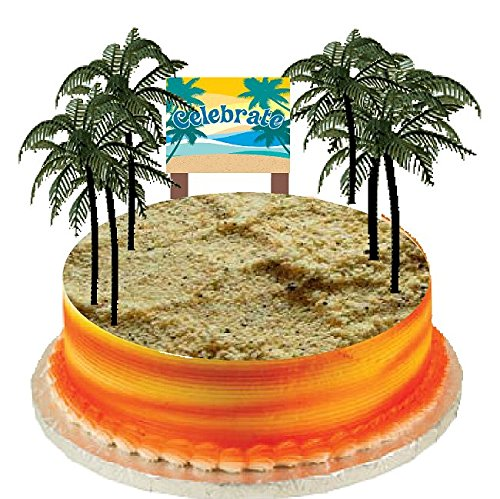 Plaque Palm - Cake / Food / Cupcake Decoration Plant Tree Topper Picks with Plaque (6 Large Palm Trees)