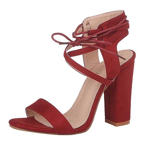 Kootk Schuhe Damen High Heels Blockabsatz Sandalen Lace Up Offene Pumps Elegante Riemchensandalen Absatzschuhe Hoch Absatz Sommerschuhe Abendschuhe