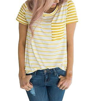 b7d1b45202943 Bellelove,Chemise à rayures Femme, Pull à Manches Courtes Femme 2018 Été  Vente Chaude