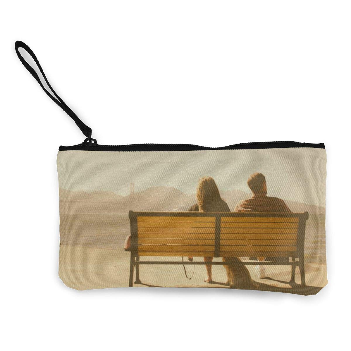 Young Couple Sitting Make Up Bag,Cellphone Bag With Handle on Bench With Dog Zipper Canvas Coin Purse Wallet