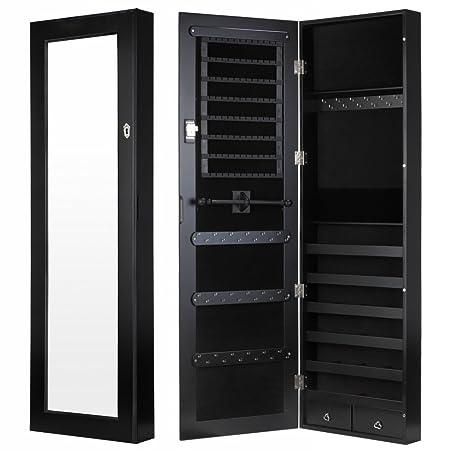 Homegear Modern Wall Mounted Jewellery Cabinet/Full Length Bedroom Mirror  (Black)