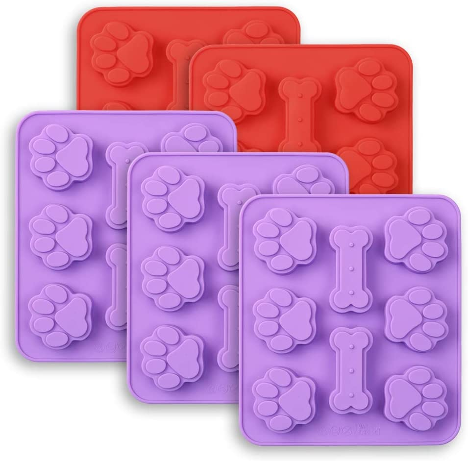 Cozihom Dog Paw & Bone Shaped 2 in 1 Silicone Molds, 8 Cavity, Food Grade, for Chocolate, Candy, Cake, Pudding, Jelly, Dog Treats. 5 Pcs