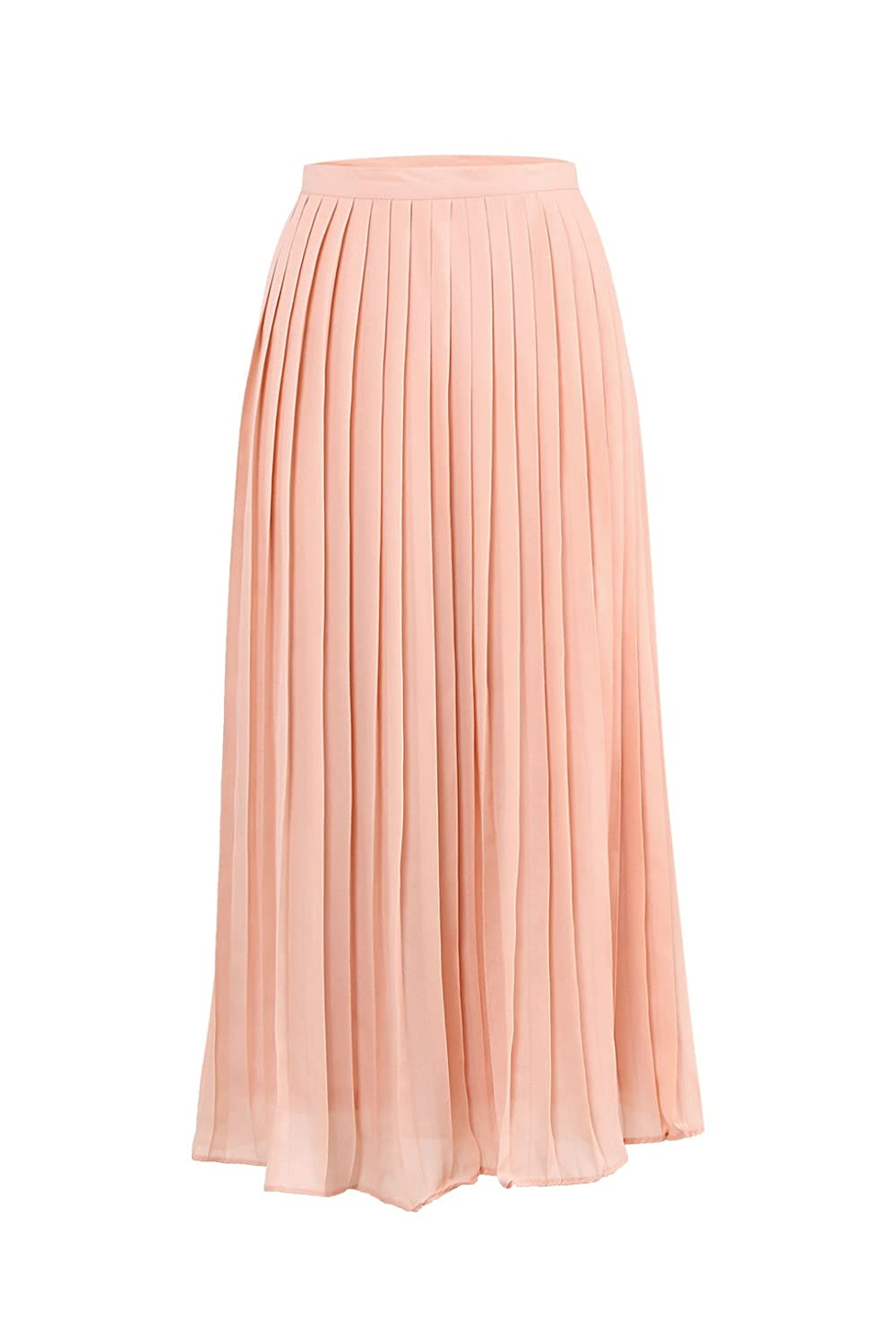 73bed5d80f4c8 YOINS Women Casual Plus Size Pleated Maxi Long Midi Skirt Pink UK 20:  Amazon.co.uk: Clothing