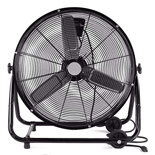 Astroair High Velocity Drum Fan 24 Inch Electric Industrial and Home Floor Fan - 1/4 HP, 3 Speeds, Orange, -