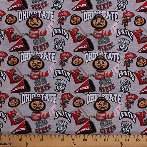Cotton Ohio State University OSU Buckeyes Brutus Mascot Go Bucks Logos Allover on Gray NCAA College Sports Team Digital Print Cotton Fabric Print by The Yard (D351.04)