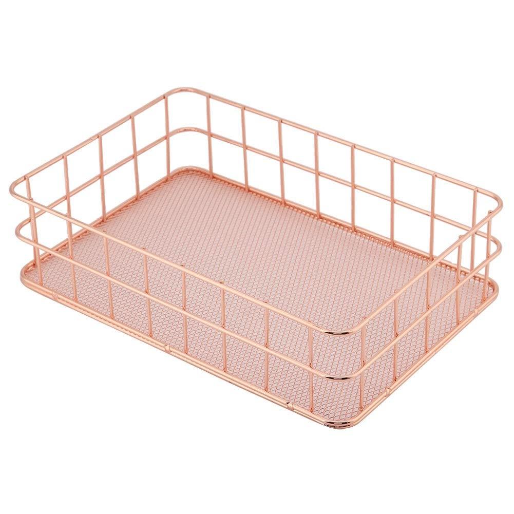 Storage Basket, MAGT Simplicity Rose Gold Iron Storage Basket Sturdy And Durable Organizer Storage Holder Desktop Decor (Size : D) by MAGT