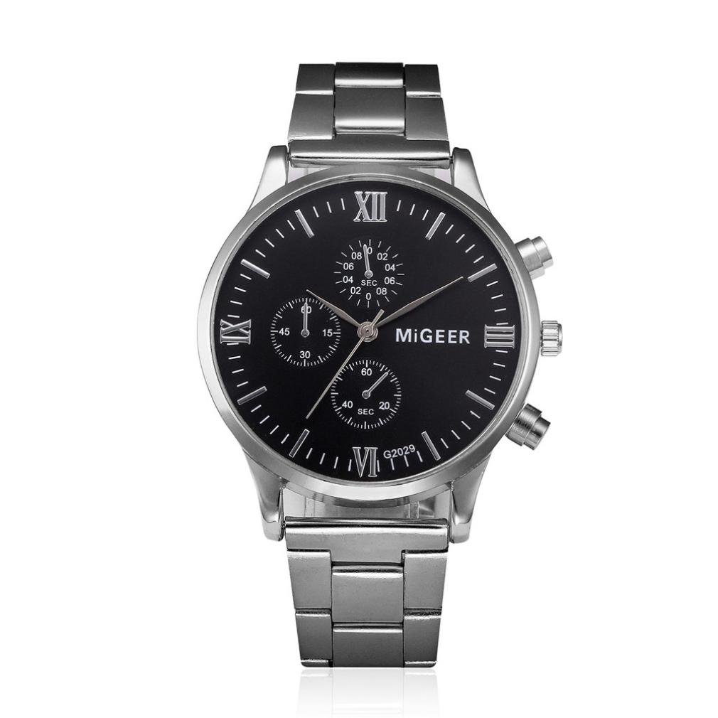 Clearance !! Auwer Watch,Mens Watches,Mens Luxury Fashion Stainless Steel Chronograph Quartz Wrist Watch (D)
