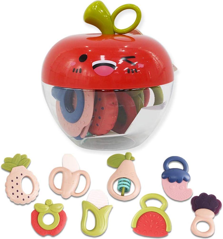 deAO Conjunto de Mordedores Sonajeros para Beb/é con Dise/ño de Frutas y Verduras Juguete Sensorial para la Etapa de Dentici/ón Incluye Caja de Almacenamiento
