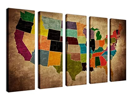 United States Map Canvas Wall Art.Amazon Com Canvas Wall Art Urban United States Map Painting Printed