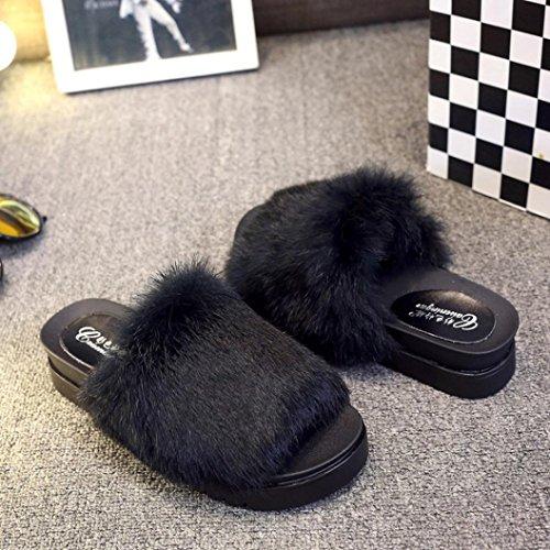 Womens Dikke Bodem Sliders Pluizig Nepbont Platte Slipper Flip Flop Sandaal Zwart
