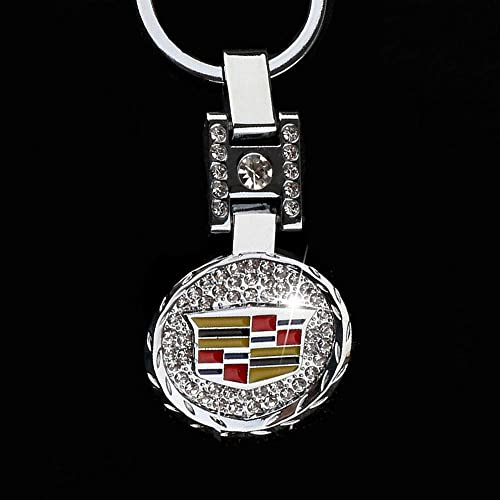 Cadillac Bling Car Keychain Car Logo Key Ring 3D Metal Emblem Pendant Crystal Decoration Lanyard Keychains for Gifts