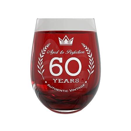 Copa de vino para regalo de 60 cumpleaños, decoraciones de ...