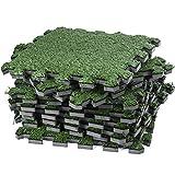Dooboe Césped Artificial entrelazados baldosa–Césped Artificial Césped Carpet–Fake zacate Piso Mat- Soft Turf Tiles, No es tóxico, Anti-Fatigue Premium Espuma Mat