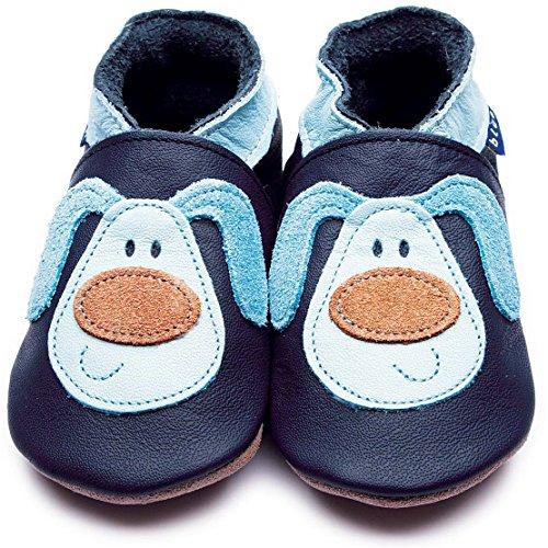 Inch Blue Jungen Schuhe für den Kinderwagen aus luxuriösem Leder - Weiche Sohle - Kleiner Strolch Dunkelblau