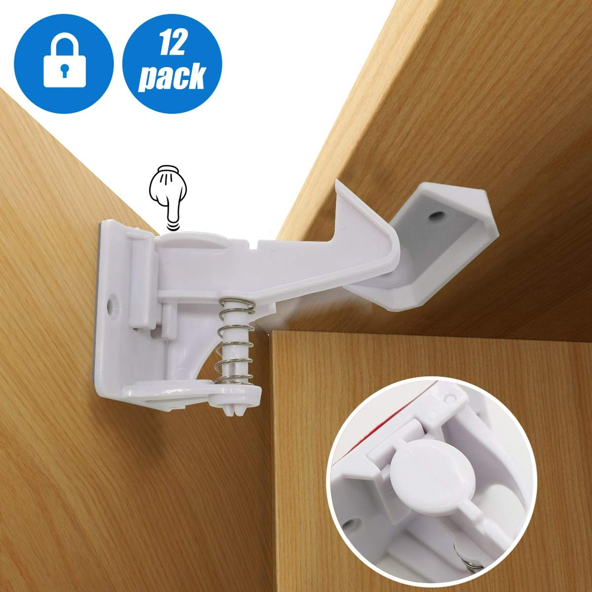 Cabinet Locks Child Safety Latches, 12 Pack Invisible Design Baby Proofing Cabinets Lock and Drawers Latch with Easy 3M Adhesive NO Tools and Drilling Needed