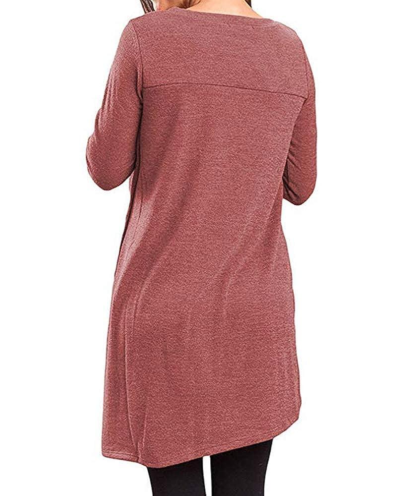 Lalala Womens Casual Button Side Tunic Tops Long Sleeve Irregular Jumper Shirts