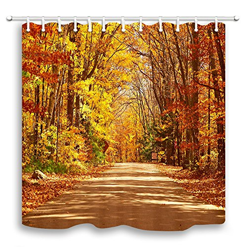 KOTOM Natural Landscape Decor Shower Curtain, Fall Romantic Walk in Autumn Forest, Polyester Fabric Bath Curtains with Hooks 69W X 70L Inches
