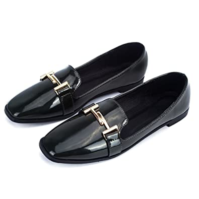 FUT Women s Loafers Patent Leather Slip-On Flat Shoes Green