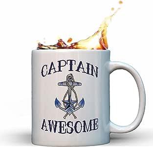 Captain Awesome Funny Nautical Gag Gift Sailing Boating Anchor Gift Coffee Mug Tea Cup White