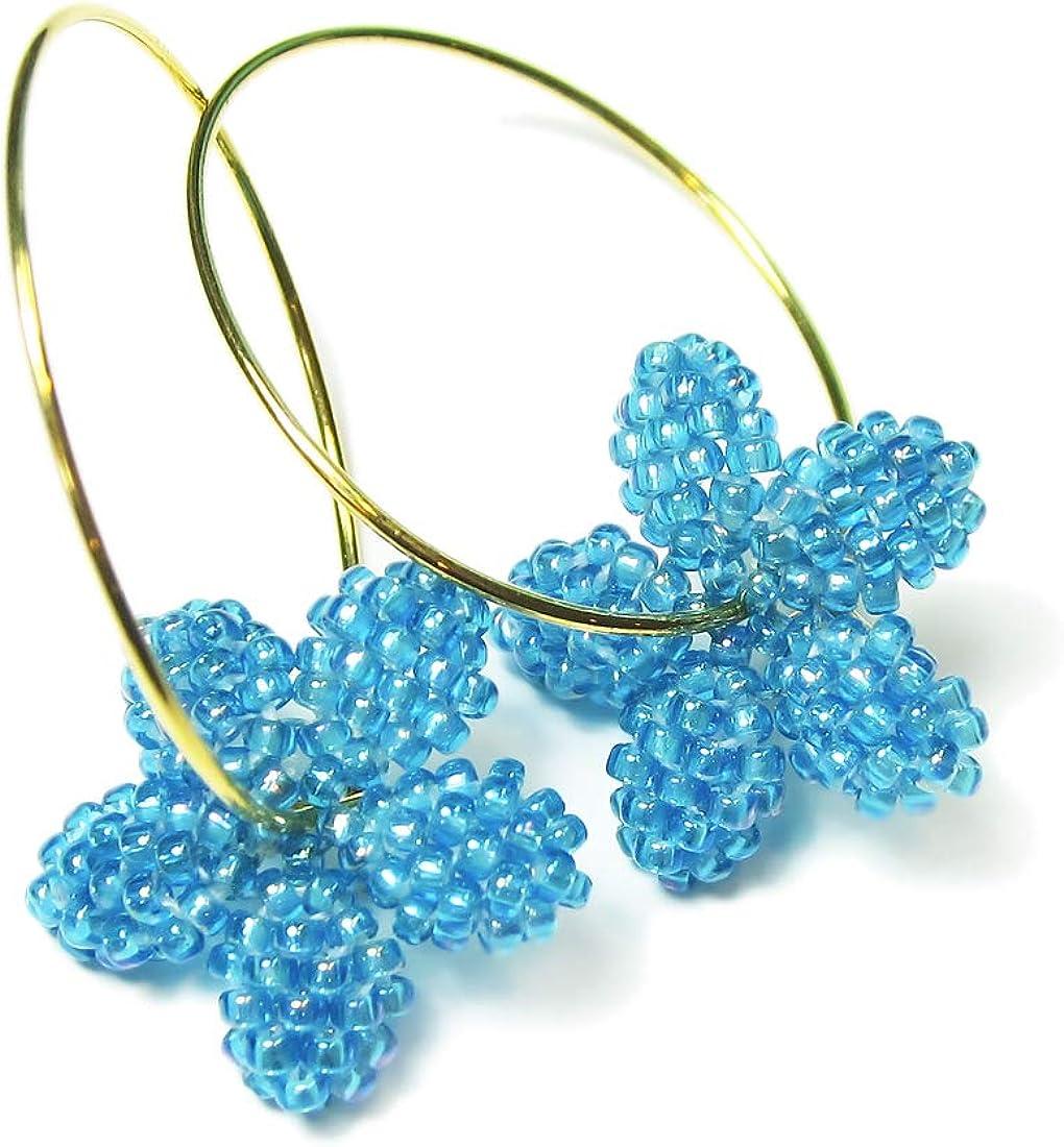 Heart in Hawaii Tiny Plumeria Flower Dangles Aqua Blue