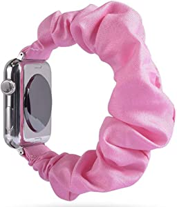 Ninyeke Scrunchie Watch Band for Apple Watch, Soft and Stretchy Watch Scrunchy Strap Compatible with Iwatch Series1-5 (38MM/40MM, 42MM/44MM)