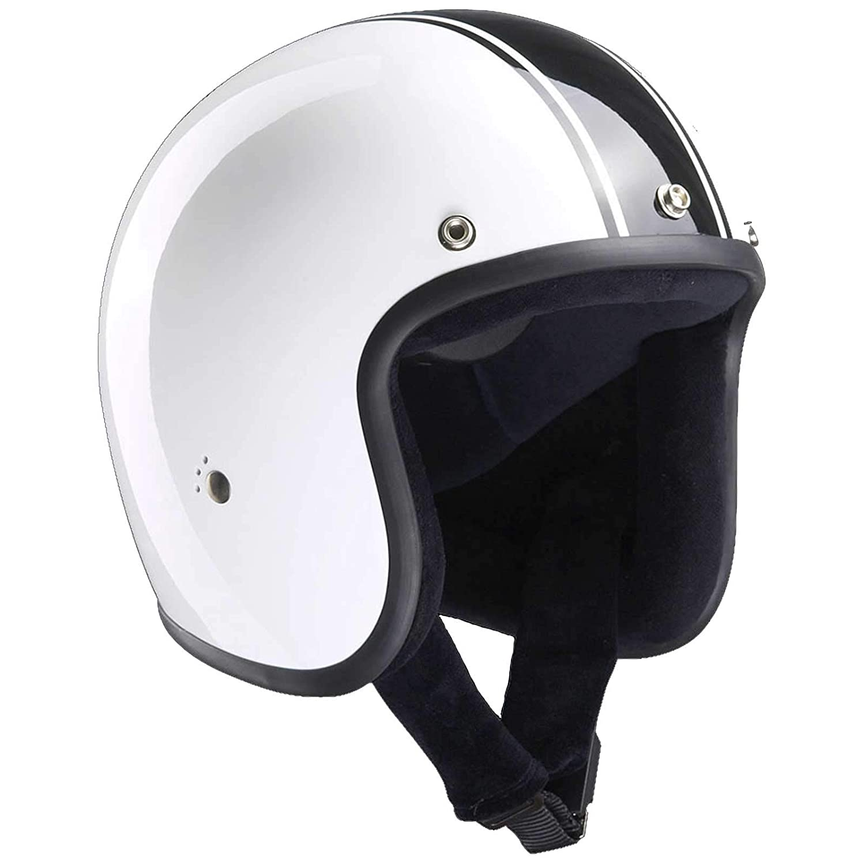 Bandit Helmets Jethelm Classic Jet, Motorradhelm ohne ECE mit Sonnenschild, Sports-Farbe:white black; Grö ß e:L(59-60cm)