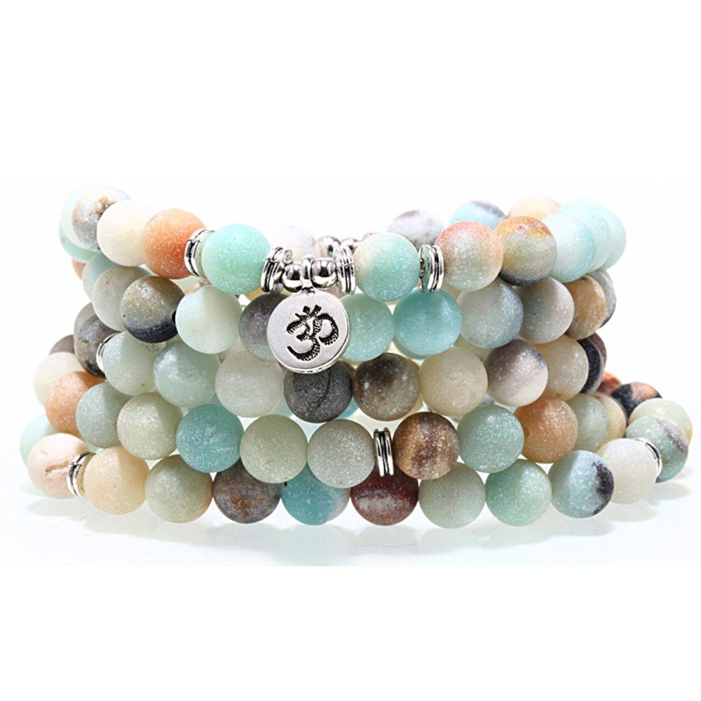 ZHEPIN 8MM Amazonite 108 Mala Beads Charm Bracelet for Men Women Yoga Bracelet Necklace