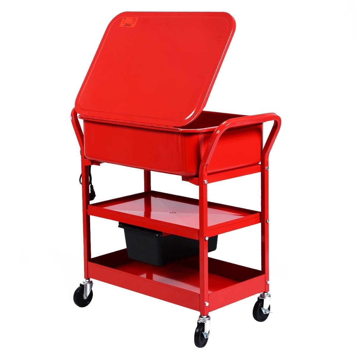 Globe House Products GHP 20-Gallon Max Tank Cacpacity 5.28GPM Flow Rate Red Mobile Parts Washer Cart by Globe House Products (Image #3)