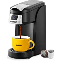 CHULUX Upgrade Single Serve Coffee Maker, 12oz Fast Brewing Machine Brewer Compatible With Pods & Reusable Filter, Auto…