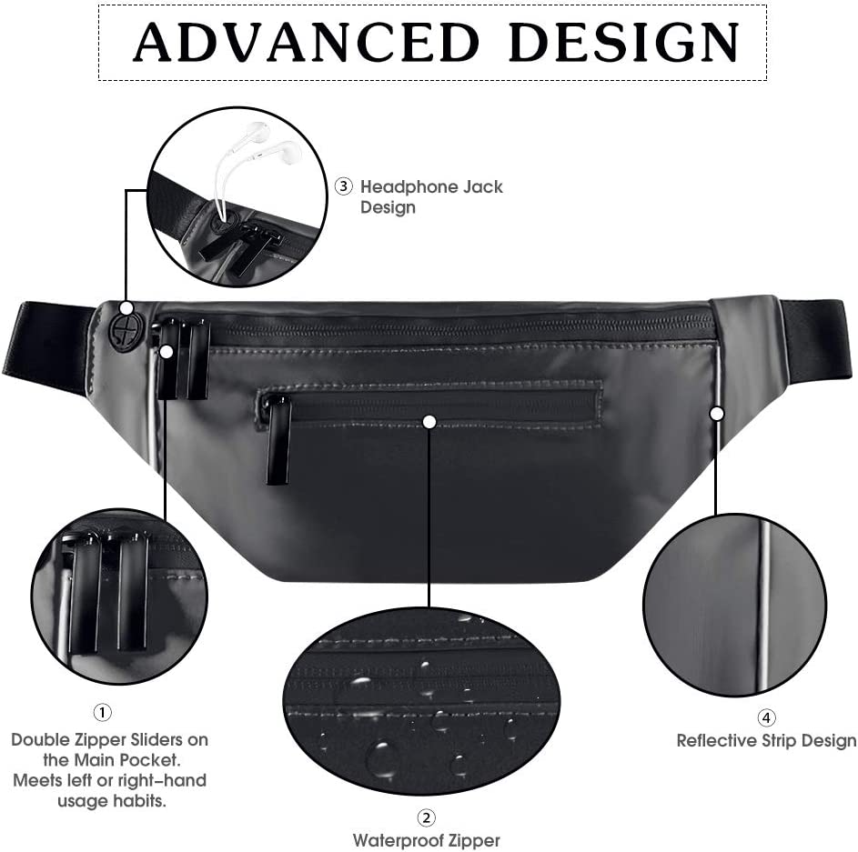 Festival Trip Gym Outdoor Belt Waist Bag Pack Pouch with Adjustable Strap/&Earphone Hole Shinemefly Fashionable Fanny Packs for Women Men Waterproof Casual Bags Bum Bag Hip Bag for Party Hiking