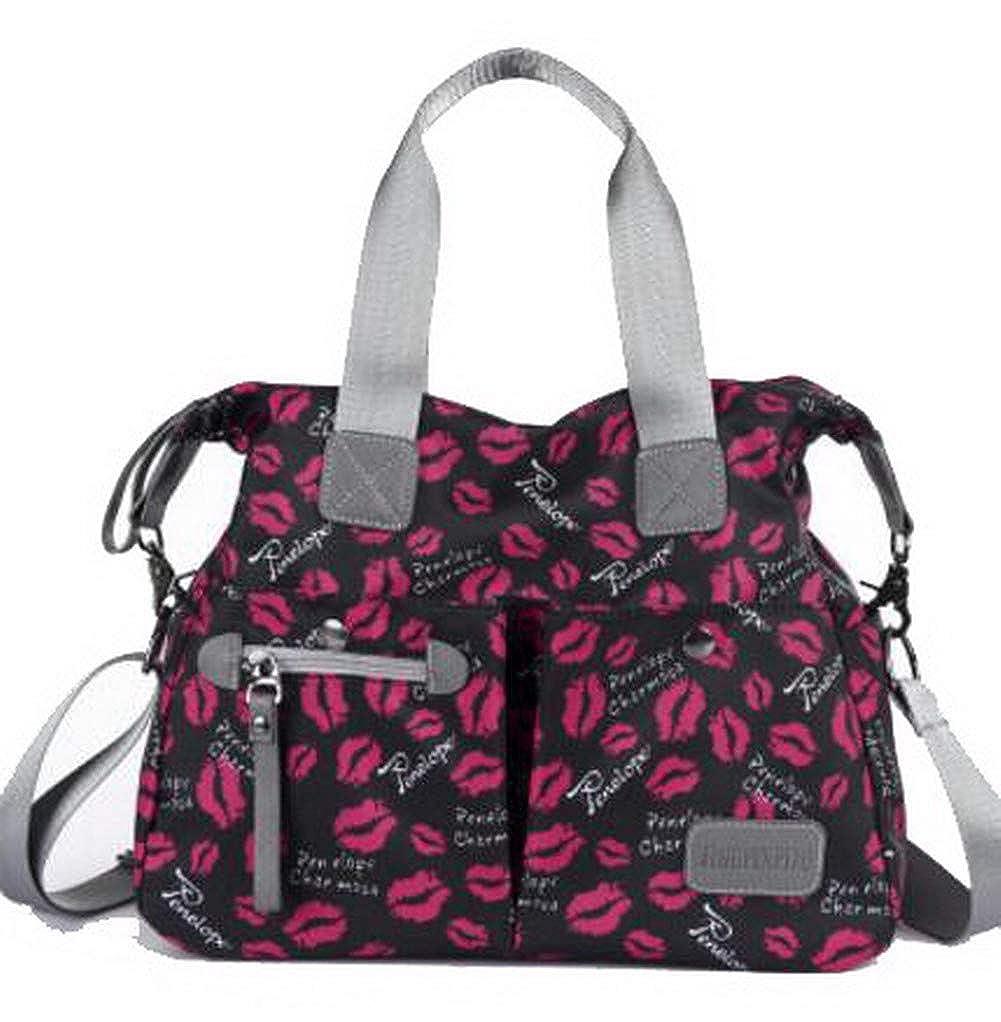 Black WeiPoot Women's Nylon Tote Bags Shopping Zippers Crossbody Bags,EGHBG182273
