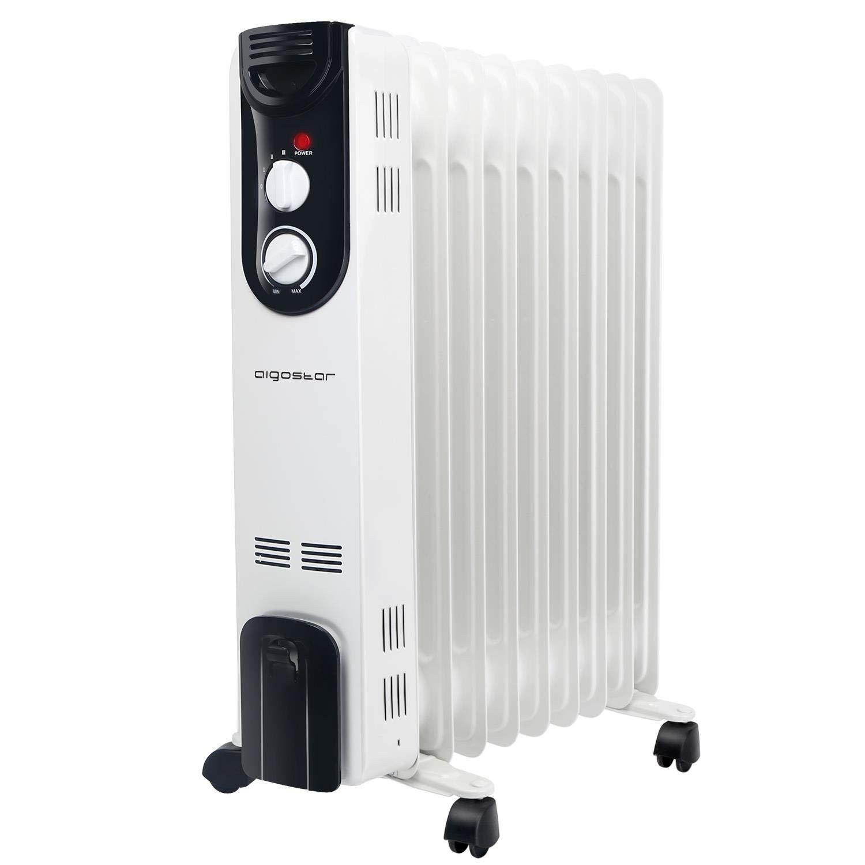 Aigostar 33LCJ - Radiador de aceite de 9 elementos, 2000W, doble tubo de calentamiento