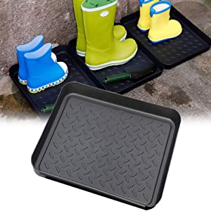 Set of 3 Shoe Trays, Multi-Purpose Boot Tray for Rain Boots, Winter Boots, Garden Tools Storage Trays Plastic Washable Flower Pots