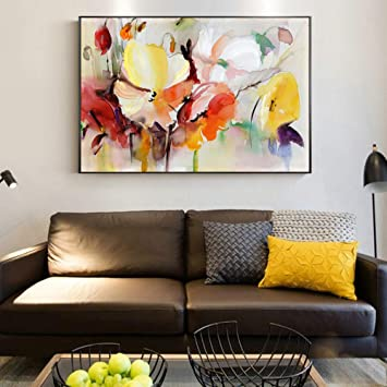 Living Room And Bedroom Wall Poster Decorated Canvas Modern Wall Art Flower Picture Abstract Aquarell Flower Oil Painting Print No Frame Amazon De Baumarkt
