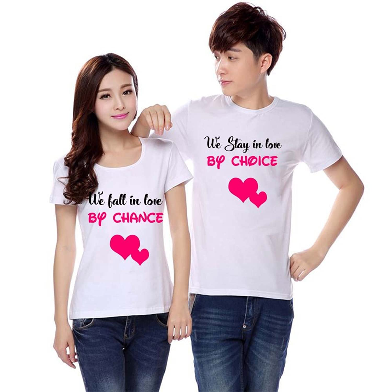 296abd67de14 Pranjal Collections Personalised Couple t-Shirts for Couple White Color  Love: Amazon.in: Clothing & Accessories