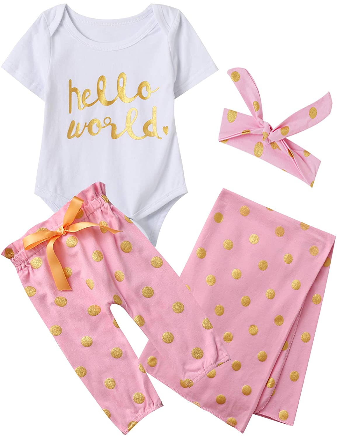 Dramiposs Newborn Baby Girl Hello World Outfit Polka Dot Floral Bodysuit with Blanket