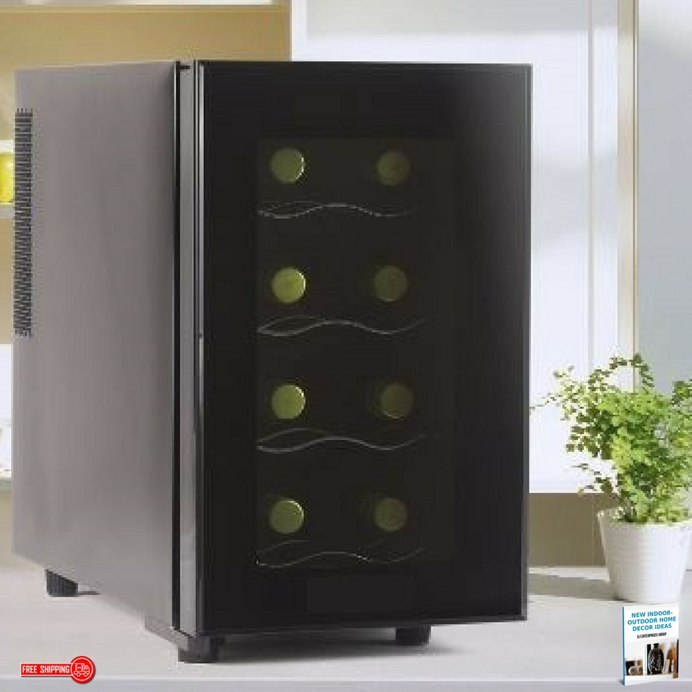 Wine Cooler-Electric Wine Cellar, Low-Noise Compressor, 8-Bottle, Dark Grey, Contemporary Design, Low Power Consumption, 4-Shelf & eBook Home Décor