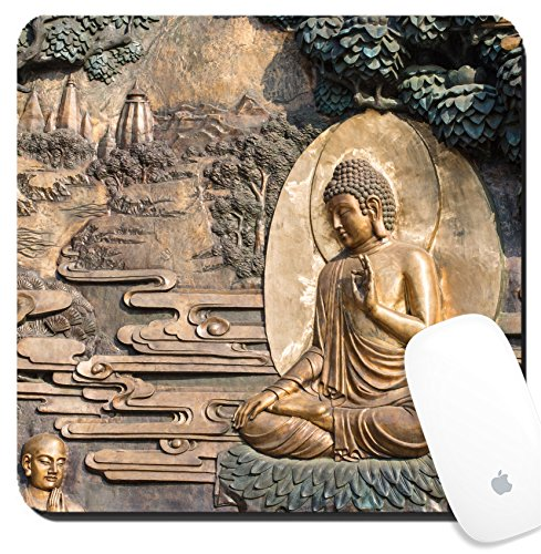 Luxlady Suqare Mousepad 8X8 Inch Mouse Pads Mat Design Image Id  25100649 Golden Buddha Statue At Lingshan Temple Wuxi China