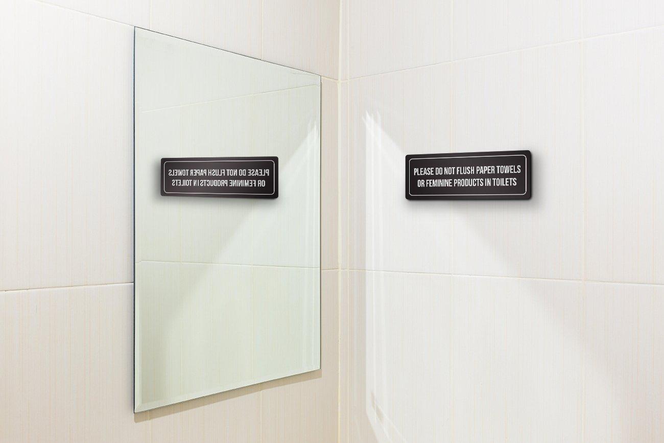 iCandy Combat Toallas de Papel con Fondo Negro W Plata por Favor no Descarga o Productos Femeninos en inodoros plástico Señal de Pared, 7,6 x 22,8 cm: ...