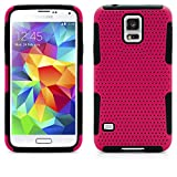 Galaxy S5 Case, MagicMobile® Hybrid Impact Shockproof Durable Hard Mesh Cover Armor Shell and Soft Silicone Skin Layer [ Hot Pink - Black ] Free Screen Protector / Film and Pen Stylus