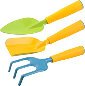 MOFOPAKOO Gardening Tool Set, 3 pcs Kids Gardening Tools, Aluminum,with Non-Slip Ergonomic Handle,Including Kids Shovel,rake, Trowel,as a Gift for Garden Toys and Beach Toys to Preschool Children.